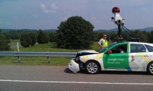 google street car accident crash itself taken pictures google map google earth on duty