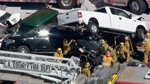 Multi-vehicle crash near Los Angeles shuts down freeway  A 19-vehicle pileup on Southern California's Antelope Valley Freeway involved sent 15 people to the hospital.
