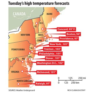 East coast hot weather high temperature in mid June 2012