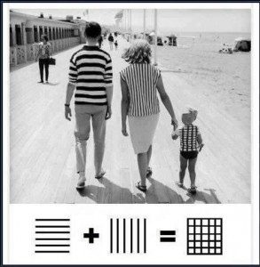 got to see this mom dad = kid or horizontal stripe + vertical stripe = ?