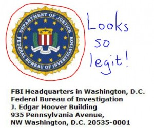 fake scam fraud hoax hacking email pretending to be FBI warrant for your arrest