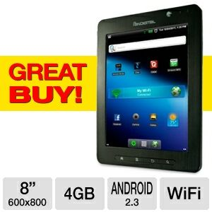 "lowest price tablet ipad $79 reviews Pandigital SuperNova RR80B455 Internet Tablet - Android 2.3, 8"" Multi-Touch, 512MB Memory, 4GB Storage, Dual Webcams RR80B455"