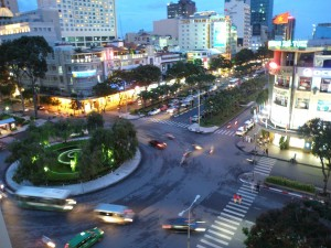 Travel to Vietnam July 2012 tourism area city night in Saigon Ho Chi Minh City