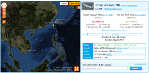 taipei TPE to SGN China airlines flight#781 July 30th 2012 eta 10am to Tan Son Nhat airport Vietnam