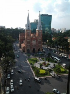 Nice snap shot of Nha Tho Duc Ba Vietnam Saigon Ho Chi Minh city famous catholic church a monument in Vietnam also consider the oldest still standing