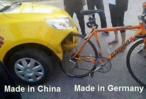 Made in China verus vs. Made in Germany Car and Bicycle
