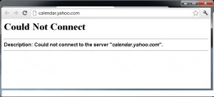 yahoo! calendar calendar.yahoo.com dead died hacked down ddos attacked error could not connect via http browser