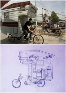 bicycle cyclo xit lo mobile home complete with kitchen living room running water power and bedroom just a peddle away where's the toilet?