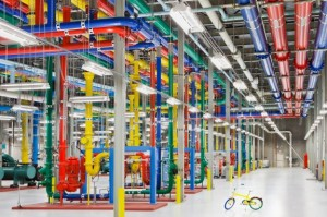 google data center equip with fire extinguisher design with same colors as google logo