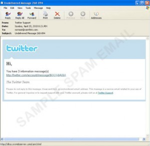 fake twitter hacking fraud hoax scam spam email watch out