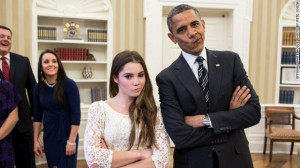 I am not impressed look on the face president Obama and McKayla Maroney