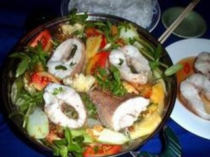 Canh Chua Ca Loc - Vietnamese Sour Soup rice farm fish