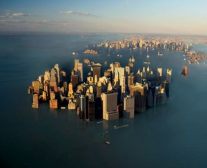 global warming melted ice from north pole created flood to northeast buy a boat people a big one