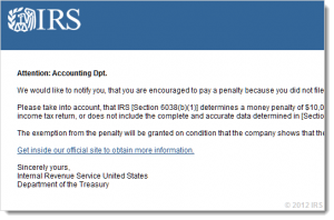 irs hoax fake email from scammer scam your life away hacking your computer and identity