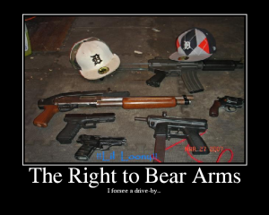 the rights to bear arm to shoot and kill now or sometime in the future one person or a group of people you hate or love