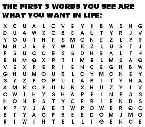 How to determine what you want in life by looking at this picture you will see the first 3 words you see are what you want in life