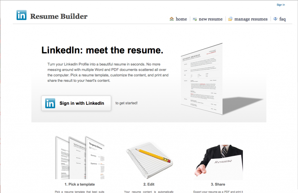 print your resume directly from linkedin.com website free 100% professional