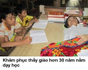 Vietnamese teacher teaches while lying down