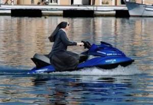 real or fake a nun on wave runner jetski water ski