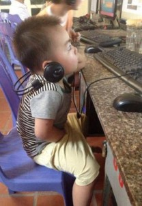 little boy spend time online in Vietnam Tan Phu Dong Cu Lao Go Cong Tien Giang Tan Thoi