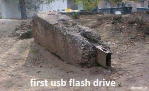 USB device was found while digging for dinosaur bones it was invented by cavemen