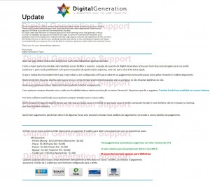 coingeneration.com Digital Generation DG news update screen shot translation on regards to payout situation this week end