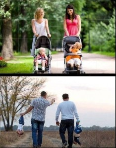 the different between how woman and men handle their child when going for a walk