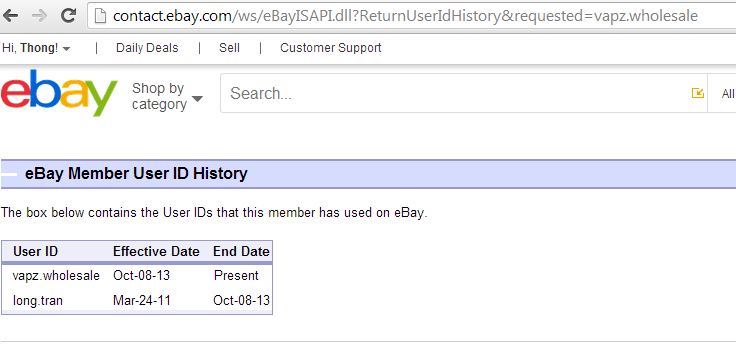 ebay ID changed indication icon and showing previous ebay ID and new ebay ID with dates