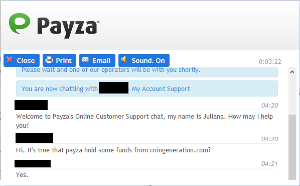 is payza still hilding coingeration.com digitalgeneration dg cg funds?