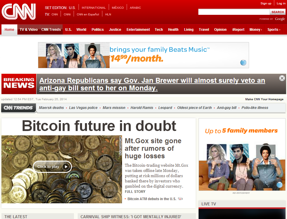 when was the last time or ever we seen Bitcoin mentioned on cnn news front page headline news?