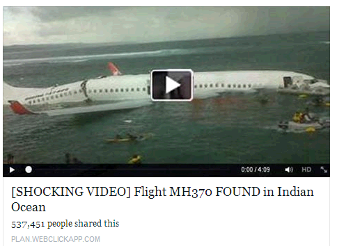 fake video image on malaysia airline MH370 found in indian ocean