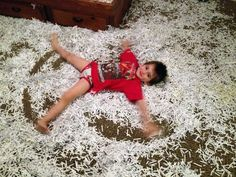 child discovered shredder papers with pieces of paper can be pretend snow let make some snow angel