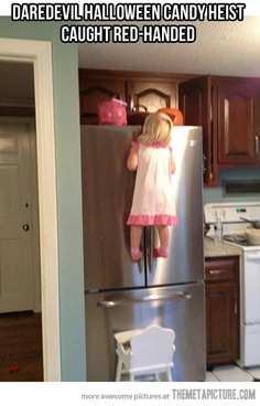 wow strong arm little girl climbing up the refrigerator or something on top of the refrigerator like a bucket of candy