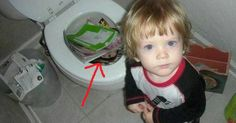 wondering what the child doing in the toilet for so long and so quiet?