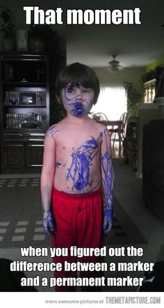kids caught red handed purple marker paint to be a zombie