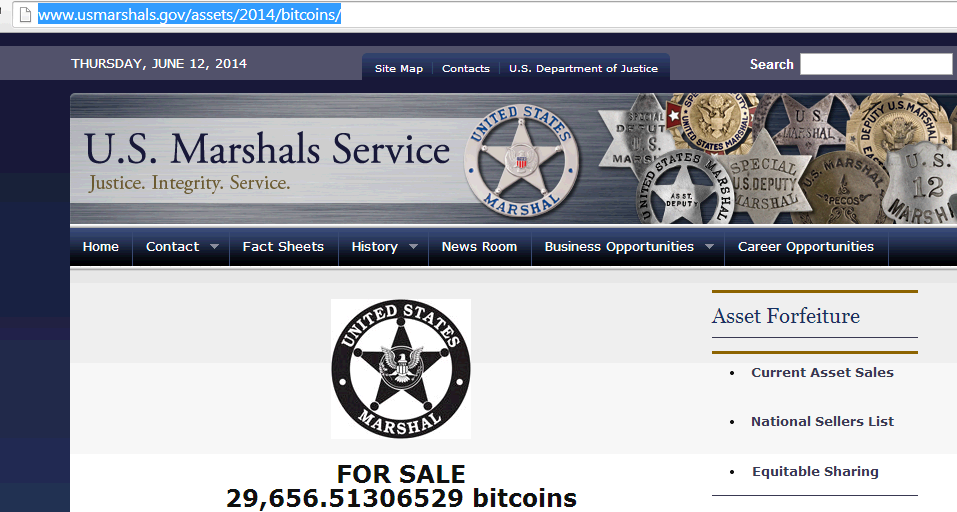 US government action against Bitcoin US Marshall auctioning 30,000 Bitcoins BTC to the public causing Bitcoin price to tumble
